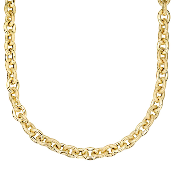 14K Yellow Gold (22.8 g) 18 Inch Textured & Shiny Oval Link Neckl