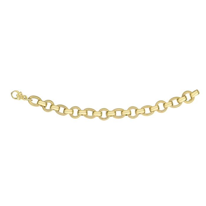 Image of 14 Karat Yellow Gold 7.50 Inch Textured & Shiny Round Oval Link Bracelet