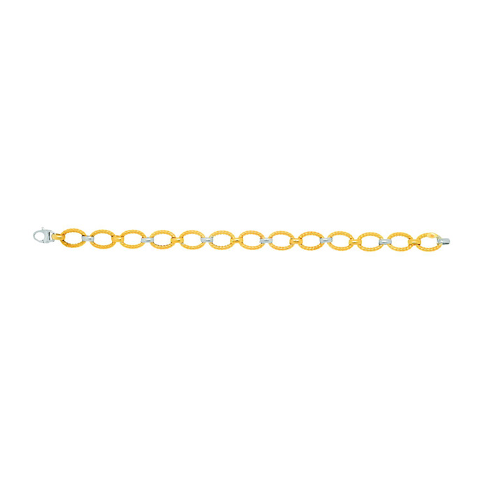 14K Yellow & White Gold (4.5 g) 7.5 Inch Twisted Oval Link Chain