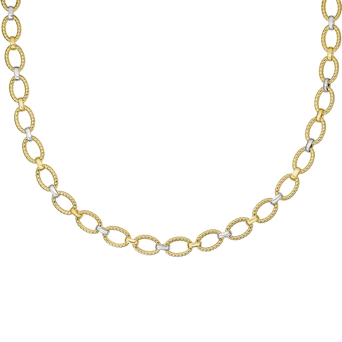 14K Yellow & White Gold (9.4 g) 18 Inch Twisted Oval Link Necklac