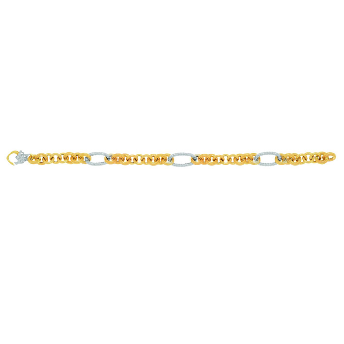 Image of 14 Karat Yellow & White Gold 7.50 Inch Round Oval Link Bracelet