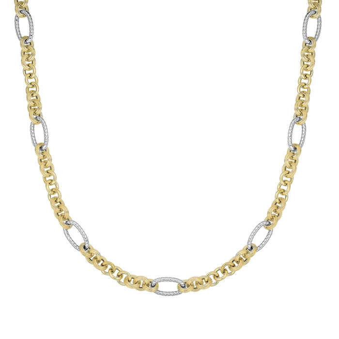 14K Yellow & White Gold (31.4 g) 18 Inch Round Oval Link Necklace