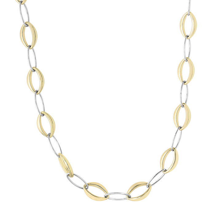 14K Yellow & White Gold (13.8 g) 8.80mm 18 Inch Marquise & Oval Link Necklace by SuperJeweler