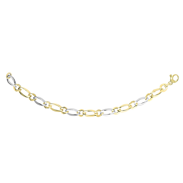 14K Yellow & White Gold (4 g) 7.75 Inch Shiny Twisted Oval Link C