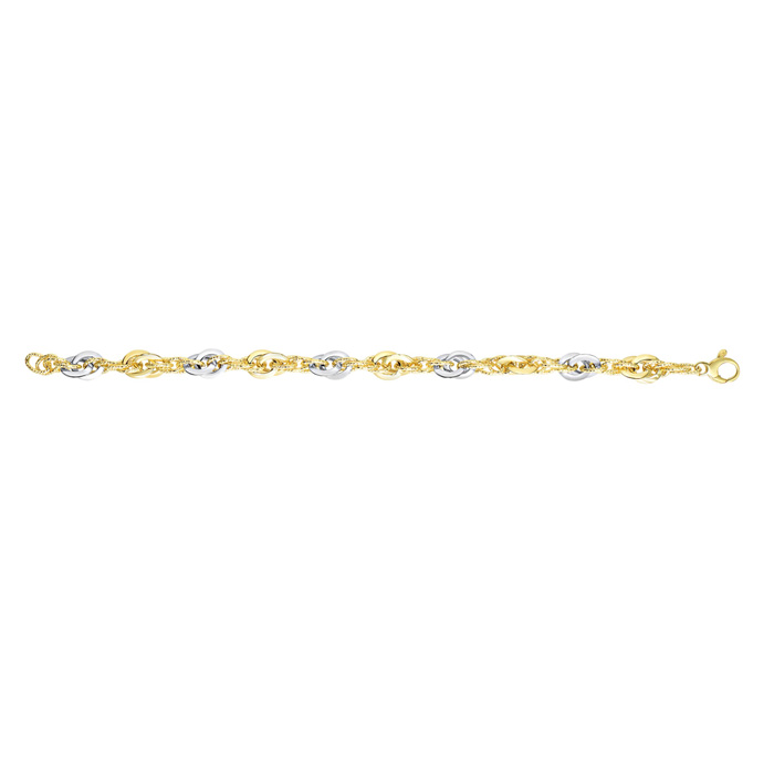 14K Yellow & White Gold (5 g) 7.5 Inch Fancy Oval Link Chain Brac