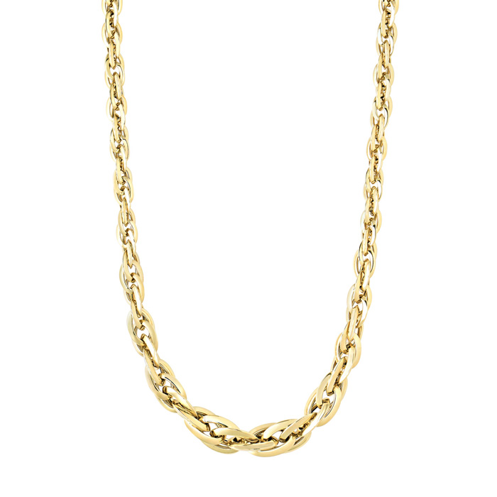 18K Yellow Gold (11.9 g) 7mm 18 Inch Shiny Double Oval Link Neckl