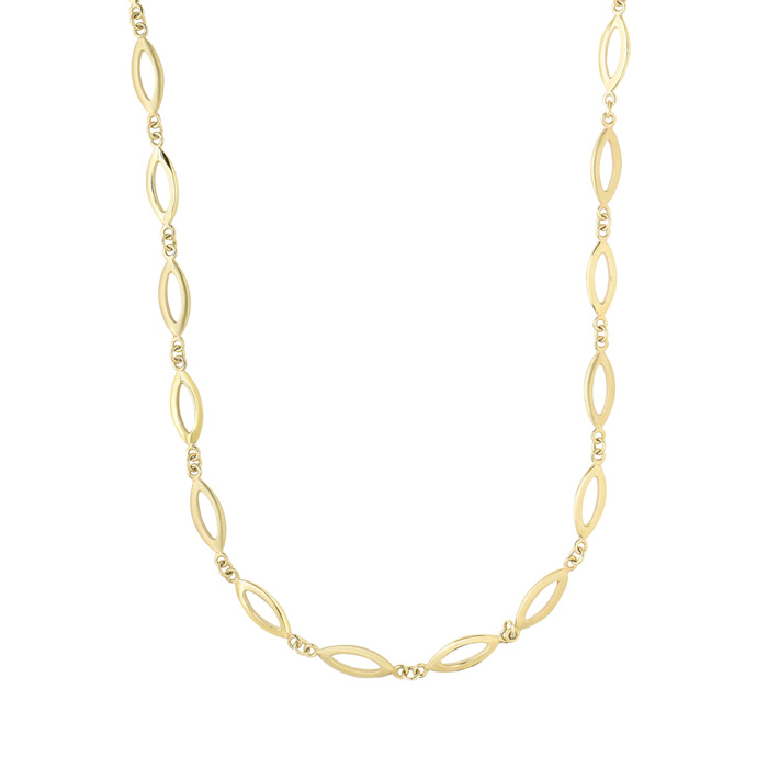 14K Yellow Gold (14.7 g) 5.9mm 18 Inch Shiny & Matt Finish Marquise Link Necklace by SuperJeweler