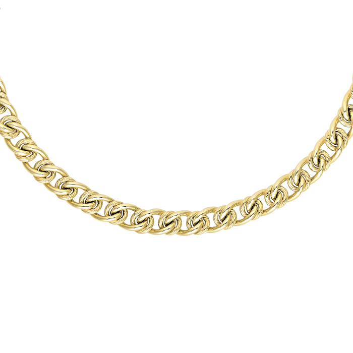 14K Yellow Gold (13.3 g) 6.0mm 18 Inch Textured & Shiny Oval Link