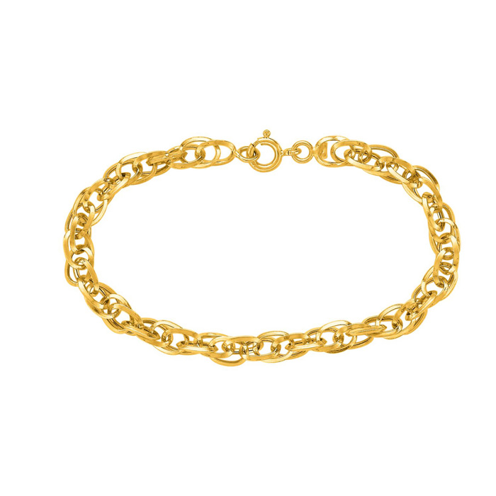 14K Yellow Gold (2.4 g) 7.5 Inch Shiny Euro Link Chain Bracelet b
