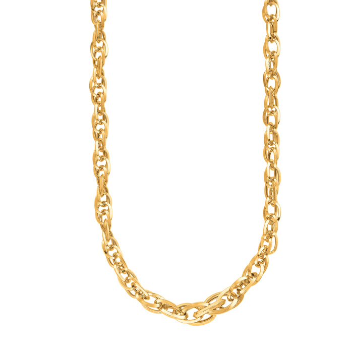 14K Yellow Gold (5.2 g) 18 Inch Shiny Euro Link Necklace by Super