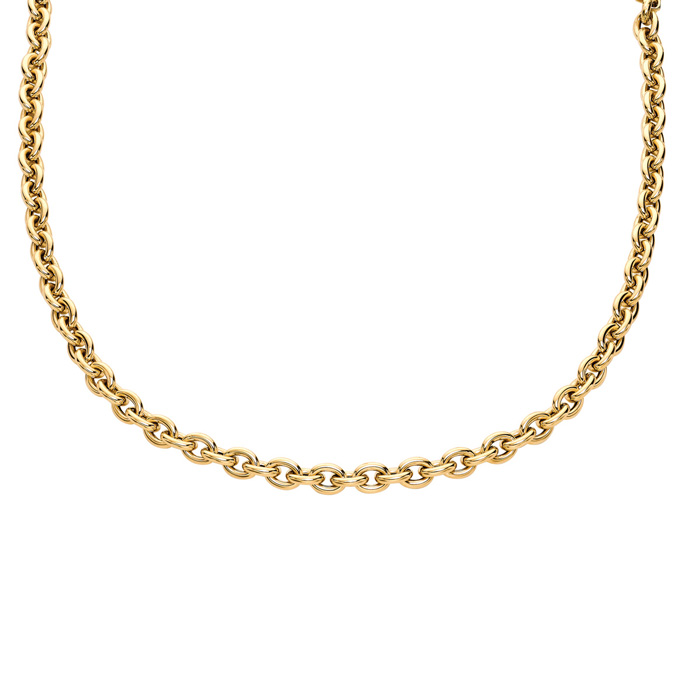 14K Yellow Gold (17 g) 18 Inch Single Oval Cable Chain Link Neckl