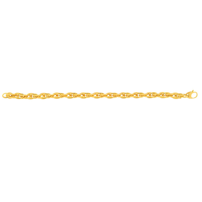 14K Yellow Gold (4.1 g) 7.5 Inch Shiny Double Oval Link Fancy Cha