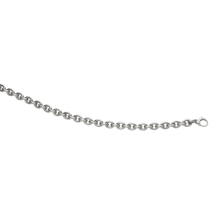 14K White Gold (7.4 g) 7.5 Inch Single Oval Cable Chain Link Brac