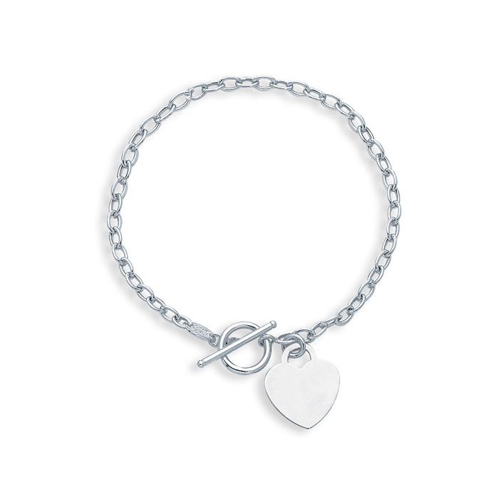 14K White Gold (3.4 g) 7.5 Inch Shiny Oval Link Chain Bracelet w/