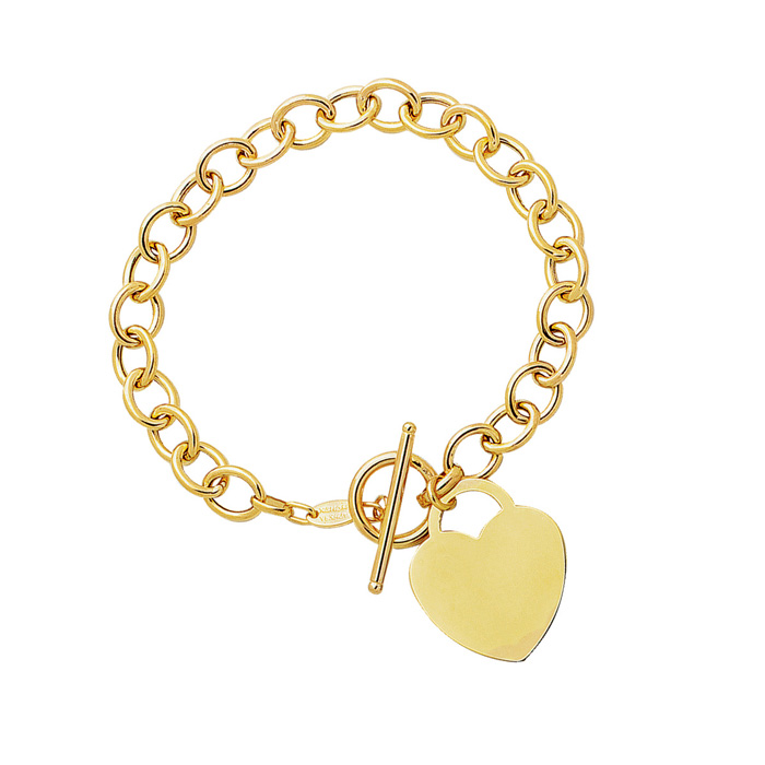 14K Yellow Gold (7.6 g) 7.5 Inch Shiny Round Chain Link Bracelet w/ Heart by SuperJeweler