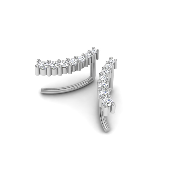 1/5 Carat Diamond Ear Climbers in 14K White Gold (1 g), I/J by Su