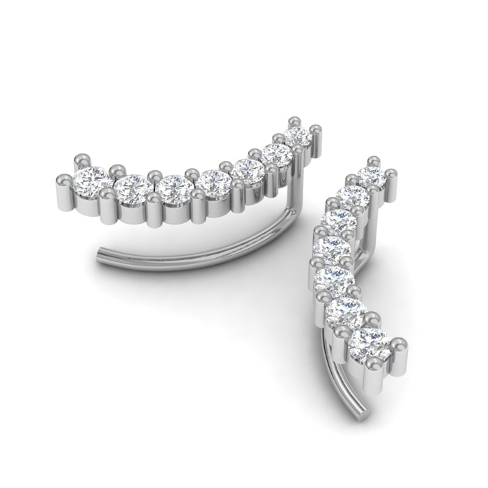 1/2 Carat Diamond Ear Climbers in 14K White Gold (2 g), I/J by Su