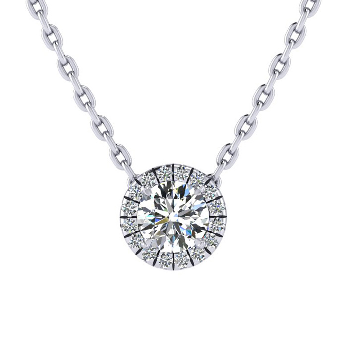 1/2 Carat Halo Diamond Necklace in 14K White Gold (1.5 g), H/I, 1