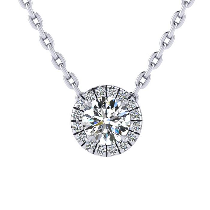 7/8 Carat Halo Diamond Necklace in 14K White Gold (2.1 g), H/I, 1