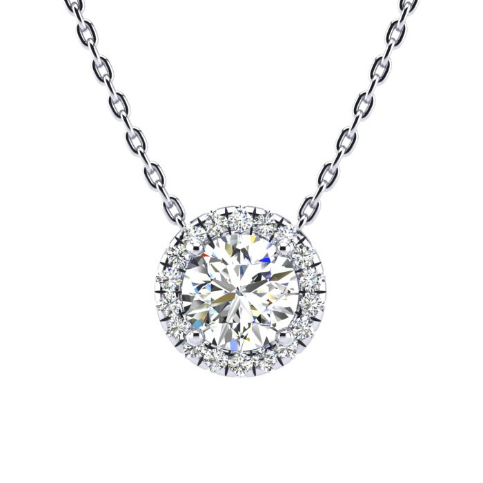 1 1/5 Carat Halo Diamond Necklace in 14K White Gold (205 g), H/I,