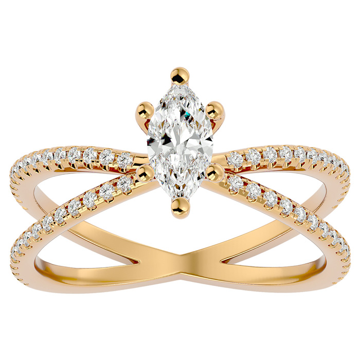 3/4 Carat Marquise Split Band Engagement Ring Crafted in 14K Yell