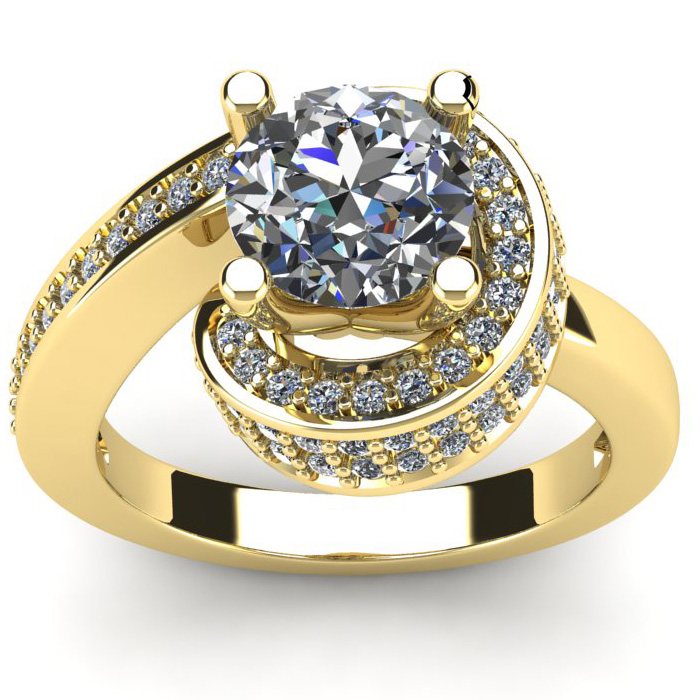 Modern Asymmetrical Round Brilliant 2 Carat Diamond Engagement Ri