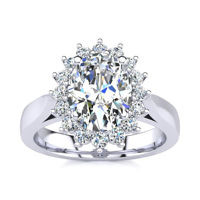1.5 Carat Oval & Round Diamond Classic Engagement Ring in 14K Whi
