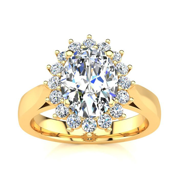 1.5 Carat Oval & Round Diamond Classic Engagement Ring in 14K Yel