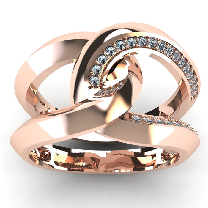 1/4 Carat Diamond Wedding Band in 14K Rose Gold (7.5 g), I/J by S