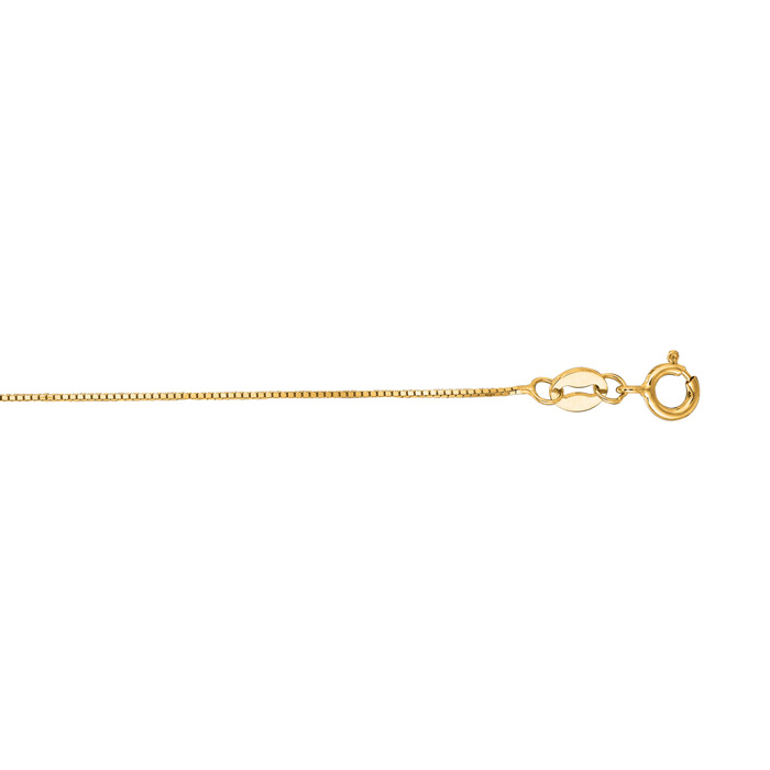 14K Yellow Gold (0.7 g) 0.6mm 13 Inch Classic Box Chain Necklace
