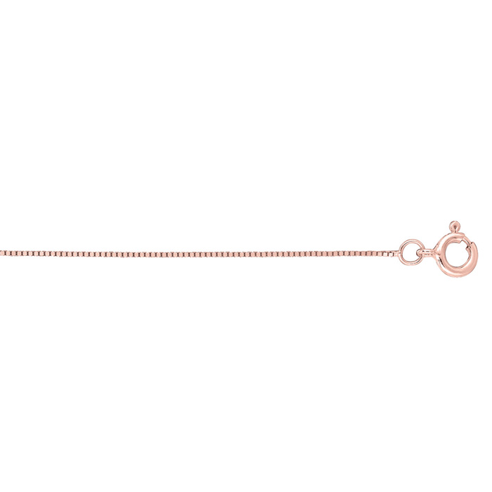 14K Rose Gold (0.8 g) 0.45mm 20 Inch Classic Pink Box Chain Neckl