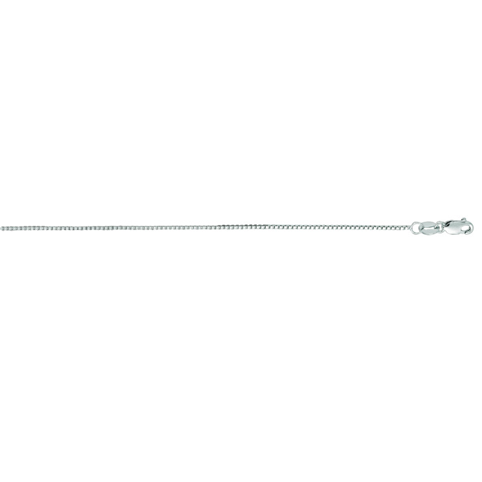 14K White Gold (1.9 g) 0.80mm 16 Inch Classic White Box Chain Nec