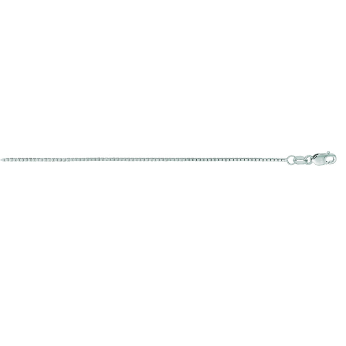 14K White Gold (3.5 g) 1.0mm 24 Inch Classic White Box Chain Necklace by SuperJeweler