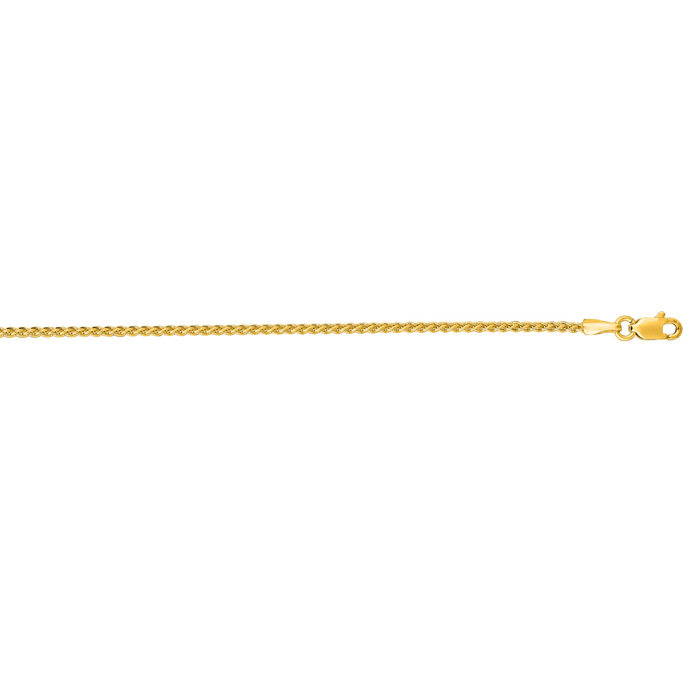 14K Yellow Gold (4.4 g) 1.5mm 16 Inch Round Wheat Chain Necklace