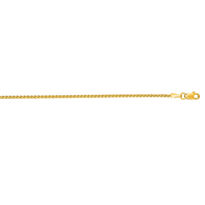 14K Yellow Gold (8 g) 1.5mm 30 Inch Round Wheat Chain Necklace by