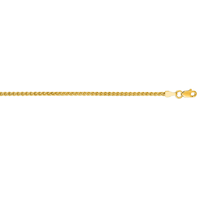 14K Yellow Gold (10.5 g) 2.1mm 24 Inch Round Wheat Chain Necklace
