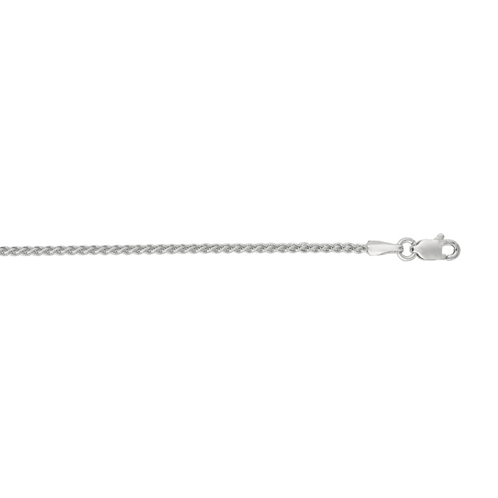 14K White Gold (4.9 g) 1.5mm 18 Inch Round Wheat Chain Necklace b