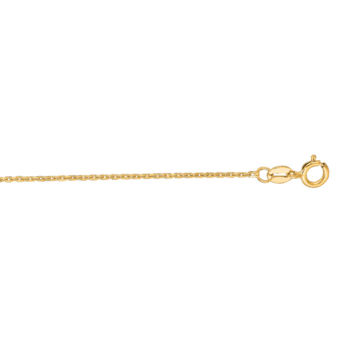 14K Yellow Gold (1.5 g) 1.10mm 17 Inch Cable Link Chain Necklace