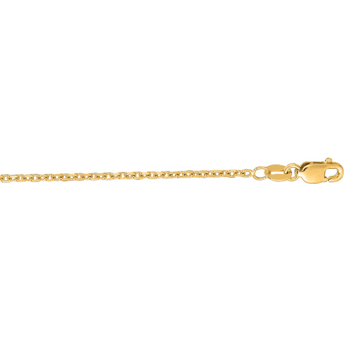 14K Yellow Gold (3.3 g) 1.50mm 22 Inch Cable Link Chain Necklace