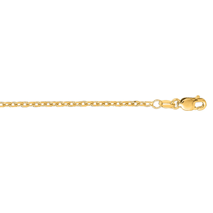 14K Yellow Gold (5.1 g) 1.80mm 24 Inch Cable Link Chain Necklace