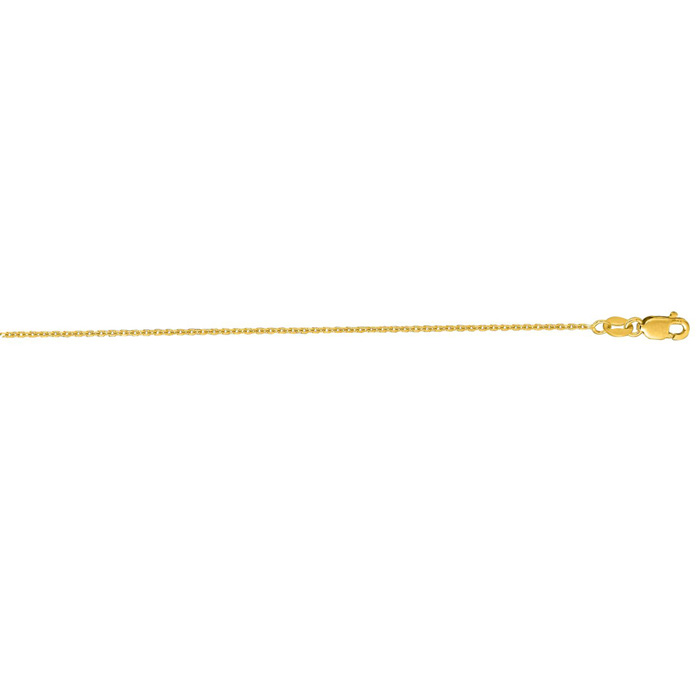 14K Yellow Gold (2.4 g) 1.10mm 24 Inch Cable Link Chain Necklace