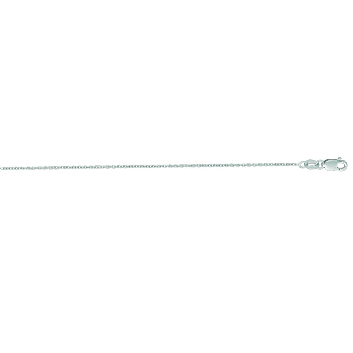 14K White Gold (2.1 g) 1.10mm 24 Inch Cable Link Chain Necklace by SuperJeweler