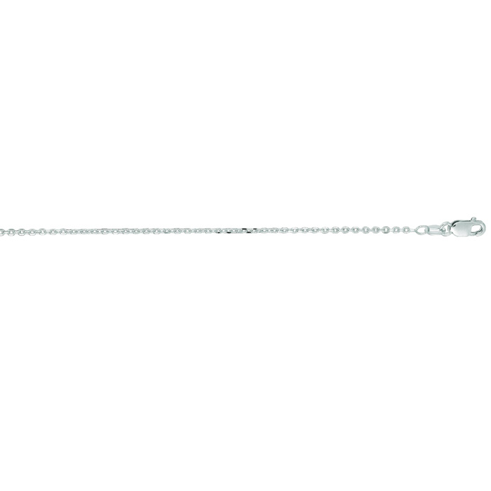 14K White Gold (2 g) 1.40mm 16 Inch Cable Link Chain Necklace by