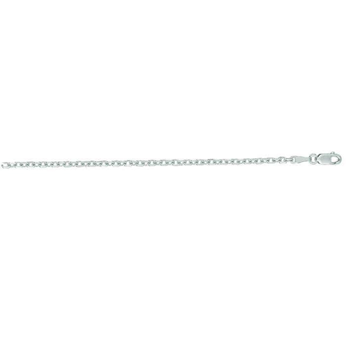 14K White Gold (4.3 g) 2.30mm 16 Inch Cable Link Chain Necklace b