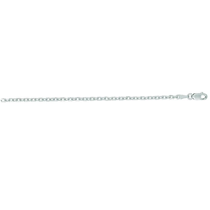 14K White Gold (5.3 g) 2.30mm 20 Inch Cable Link Chain Necklace b