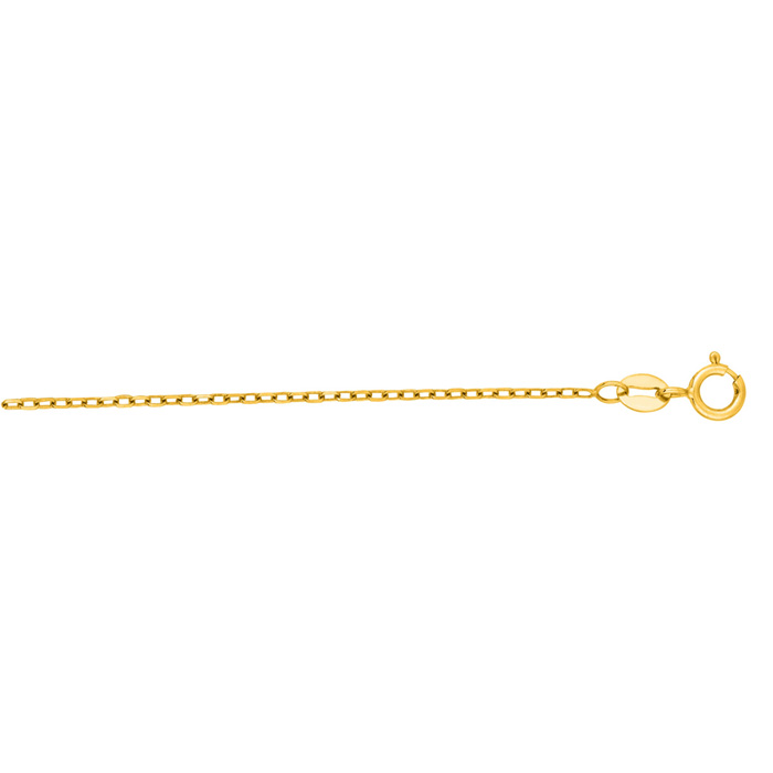 14K Yellow Gold (1.3 g) 1.30mm 18 Inch Faceted Cable Link Chain N