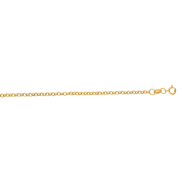 14K Yellow Gold (1.3 g) 1.90mm 16 Inch Rolo Link Chain Necklace b