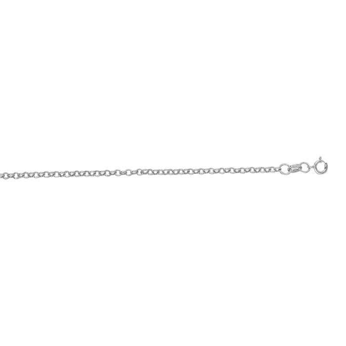 14K White Gold (1.4 g) 1.90mm 16 Inch Rolo Link Chain Necklace by