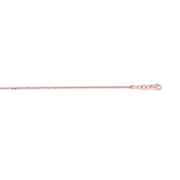 14K Rose Gold (2.8 g) 1.5mm 18 Inch Sparkle Chain Necklace by SuperJeweler