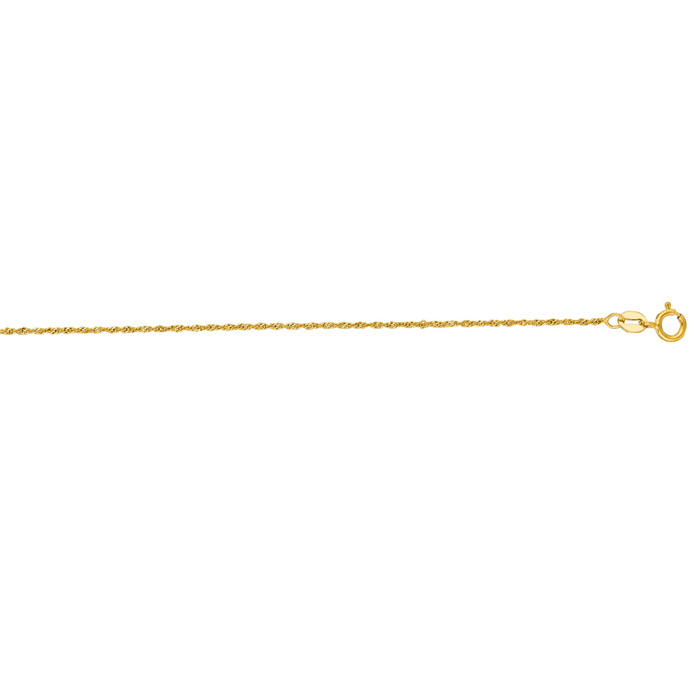 14K Yellow Gold (1 g) 1.0mm 18 Inch Singapore Chain Necklace by SuperJeweler